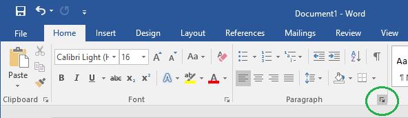 Bild om hur man expanderar paragraf fliken i Word