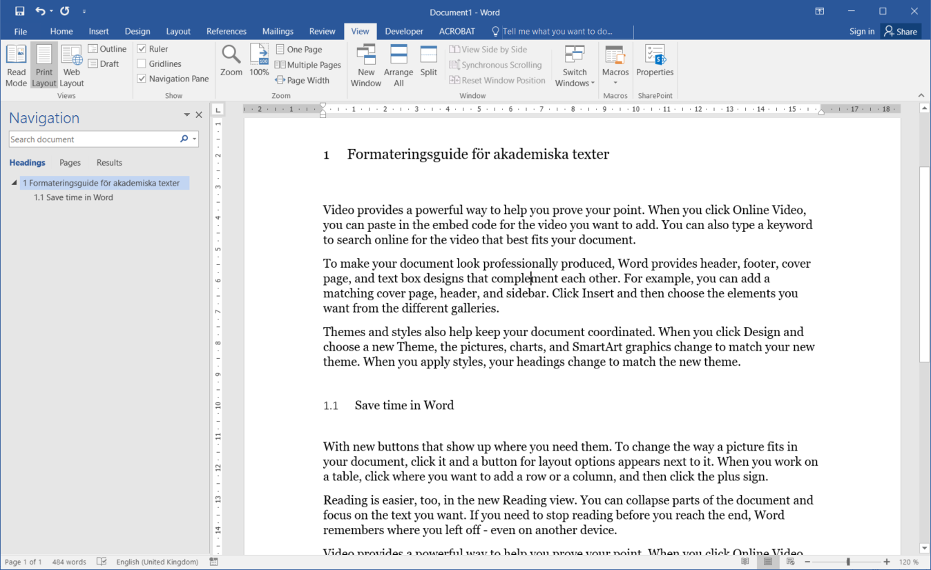 Picture example of formatted Word page