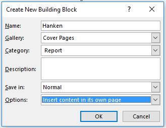 Bild: Inställningar så att man hittar prämen i Cover Pages gallerin.