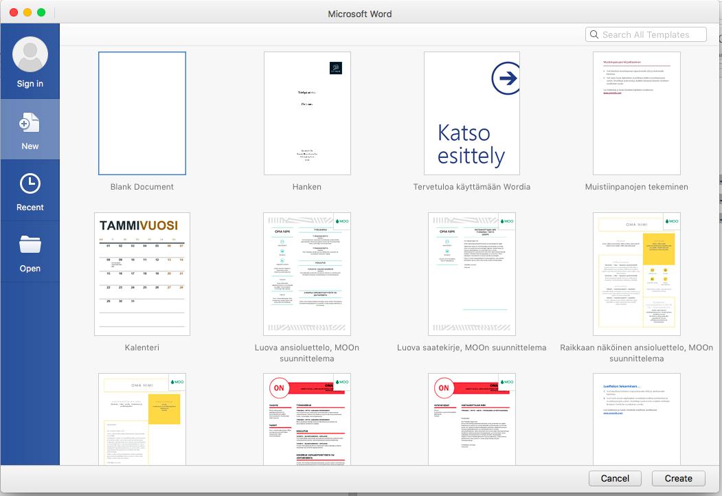 Bild: Väljer pärmen i Mac för nytt dokument.
